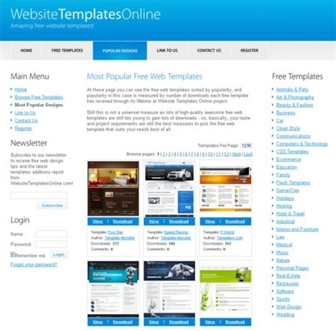 templates like website top 20 to free website templates creativefan