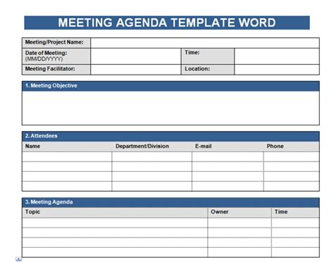 get free meeting agenda template in word microsoft excel