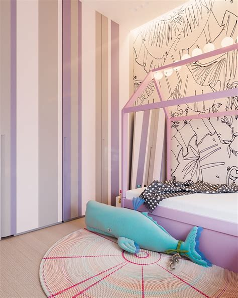 pink and lavender bedroom a minimalist family home with a bright bedroom for the kids