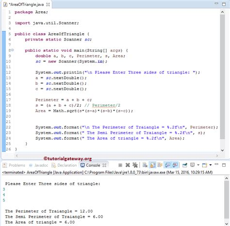 triangle pattern in java code java program to find area of triangle