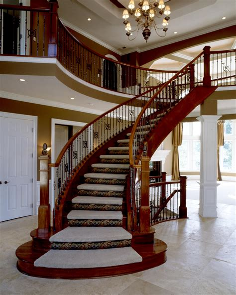 Staircase Ideas For Homes Curved Wooden Banister Rail And Handle Rail For Traditional Staircase Design In Large Space