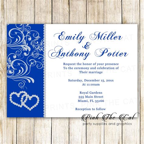 wedding invitations rhinestone royal blue diamonds