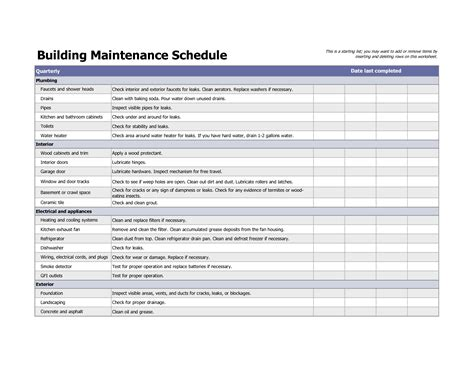Maintenance Calendar Template Excel