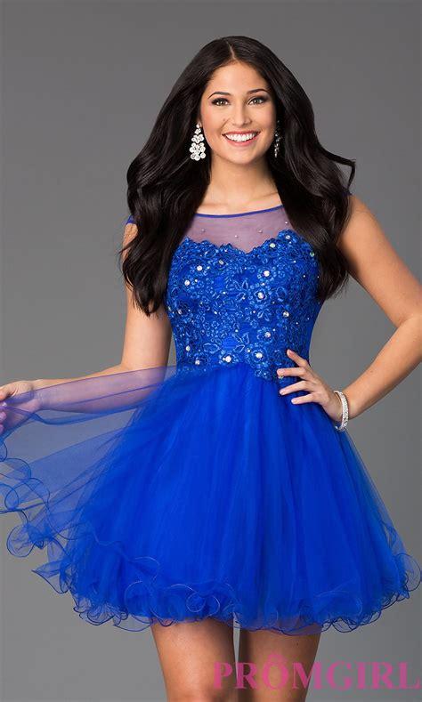 www short jeweled lace illusion short prom dress promgirl