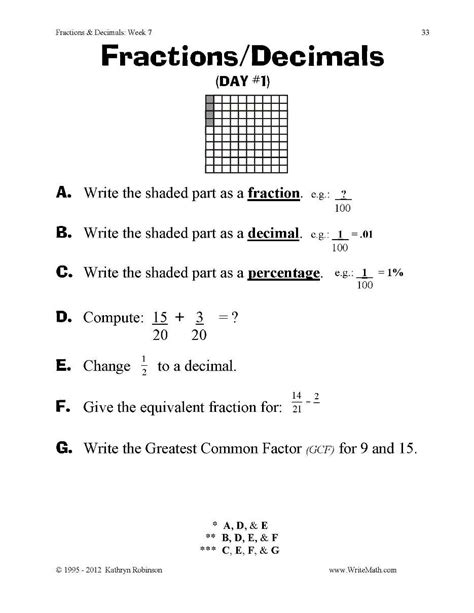 teaching fractions worksheets 3rd 4th 5th grade
