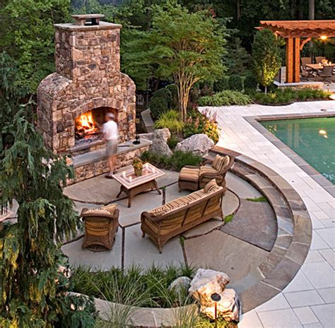 Backyard Creations Circular Fireplace Mclean Virginia Landscape Patio Design Retaining Walls