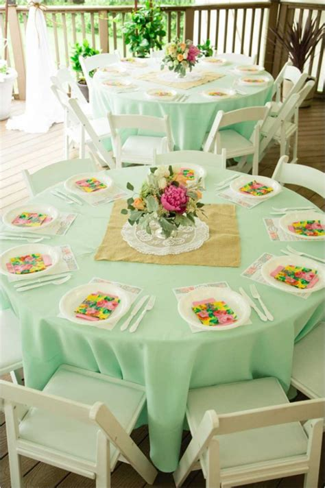 bridal shower round table decoration ideas mint and peach vintage bridal shower bridal shower ideas