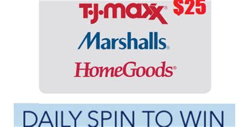 Home Good Gift Card - coupons and freebies tj maxx marshalls and homegoods 25 gift card instant win