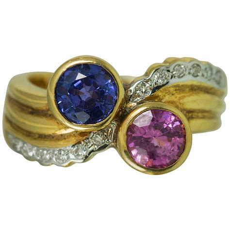 pink and blue sapphire gold ring for sale at 1stdibs