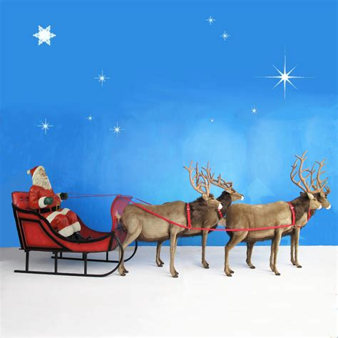 life sized santa sleigh four reindeer 65 quot