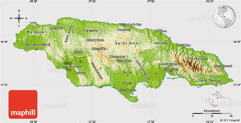 physical map of jamaica physical map of jamaica cropped outside