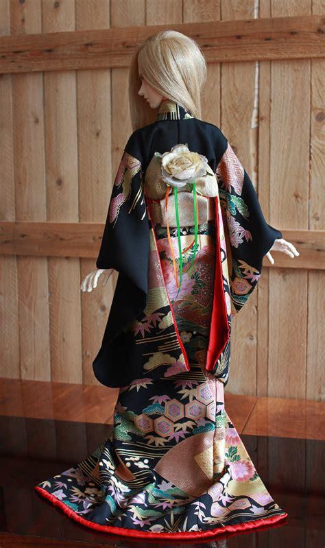 kimono pattern bjd bjd kimono black formal furisode with sensu 2 by