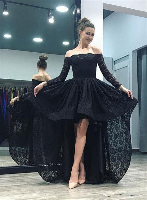 Black Dresses Hi Lo Prom Gown black lace hi lo prom dress 2018 sleeve