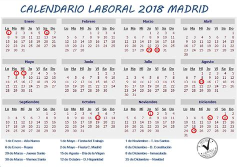 Calendario Escolar 2018 Madrid Pdf Calendario 2018 Madrid 28 Images Calendario Laboral