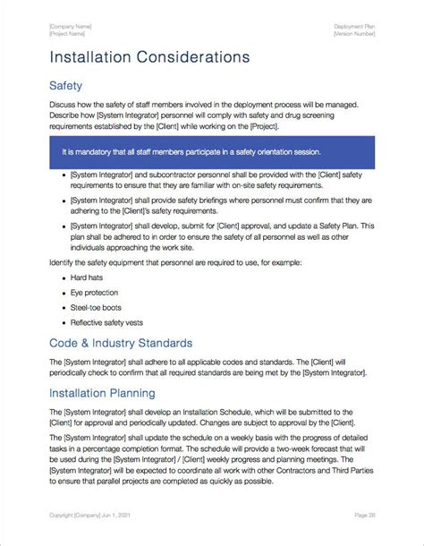 software deployment document template deployment plan template apple iwork pages