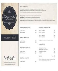 Salon Price List Template by Salon Price List Sle 9 Exles In Word Pdf