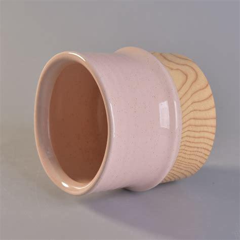 color glaze color glaze ceramic candle holder with wooden bottom