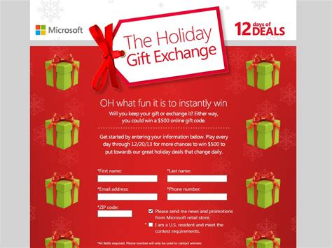 Instant Win Game Sweepstakes Official Rules - microsoft holiday gift exchange instant win game