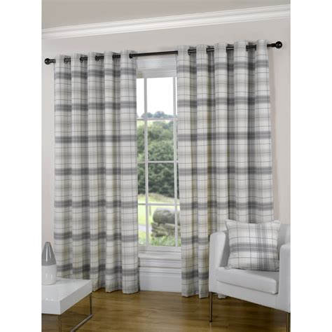 Urban Living Isla Natural Check Eyelet Readymade Curtain