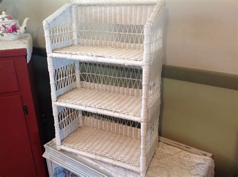 vintage white wicker shelf wall mount or stand alone wicker