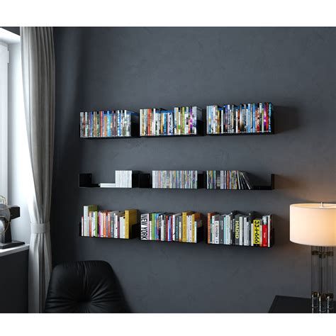 wall mount book shelves floating wall mount metal u shape shelf book cd dvd storage display bookcase ebay
