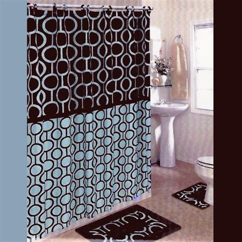 Brown And Blue 15 Piece Bathroom Set 2 Rugs Mats 1 And Brown Bathroom Sets