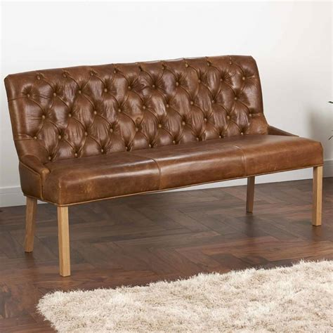 leather settee bench vintage leather or harris tweed buttoned sofa bench by the