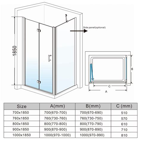 Glass Shower Door Sizes Frameless Bifold Shower Door Enclosure Hinge Door Glass Screen Walk In Cubicle Ebay
