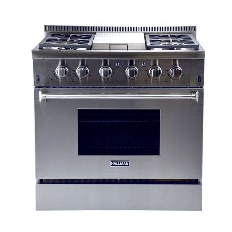 hallman 36 in 5 2 cu ft professional convection gas range in stainless steel hgr3601 the