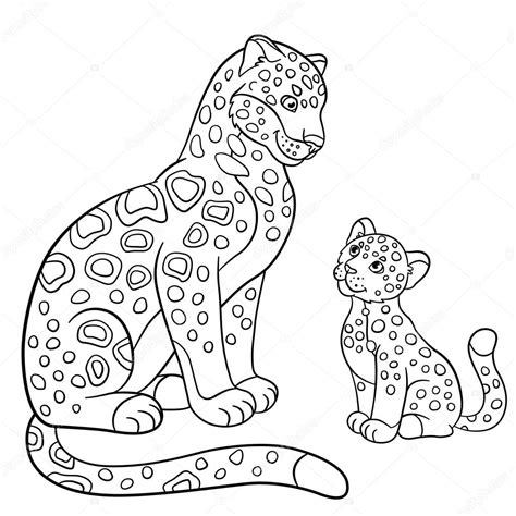 imagenes de jaguares para dibujar dibujos para colorear madre jaguar con su cachorro