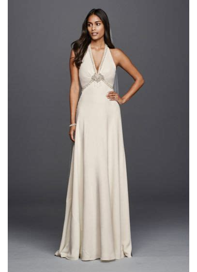 deep  neck halter wedding dress davids bridal