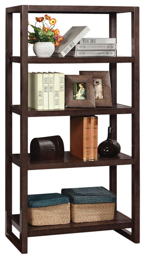 modern 4 shelf bookcase bookshelf display shelves home office living room bedroom home decor cappuccino simple design 4 shelves open bookcase display shelf stand contemporary bookcases