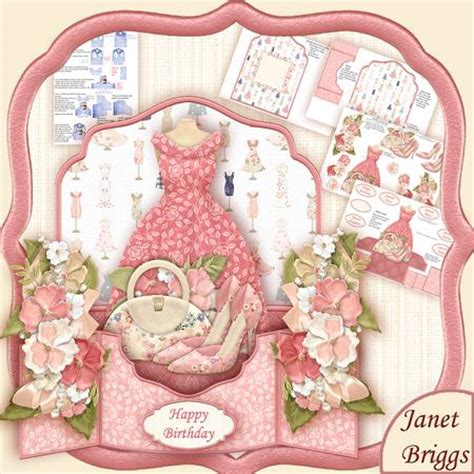 Card Decoupage - fashion shoes bag 3d pop up card kit decoupage