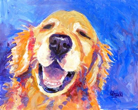 dogs painting golden retriever print of original acrylic by dogartstudio