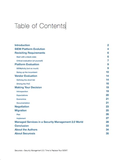research paper table of contents securosis research article
