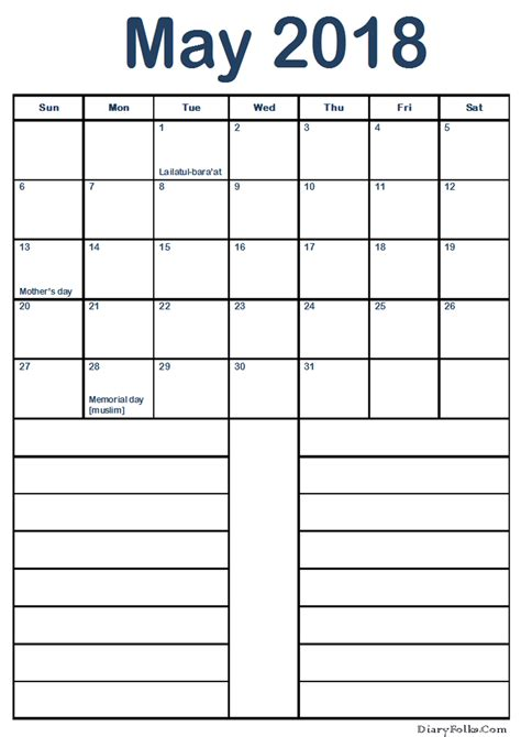 printable calendar with notes printable may 2018 calendar with notes