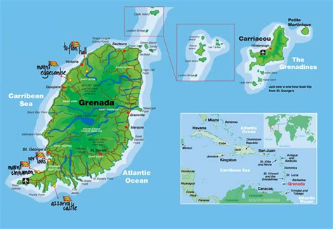 map of grenada island grenada intotheplanet