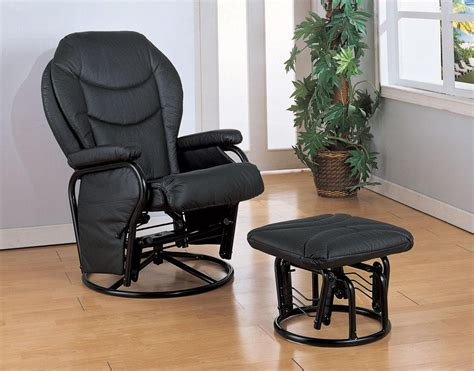 Glider Recliner With Ottoman Black Leatherette Glider Recliner Ottoman 2946 From Coaster 2946 Coleman Furniture
