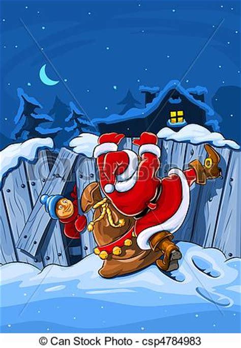 christmas santa claus  sack climbs  big fence vector illustration