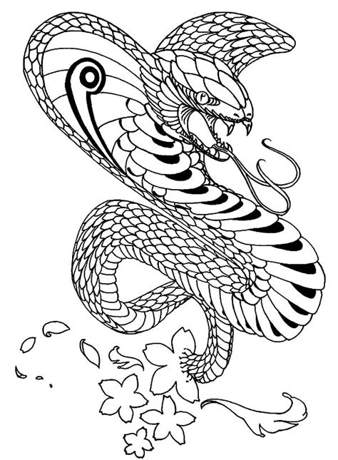 king cobra snake drawings sketch coloring page
