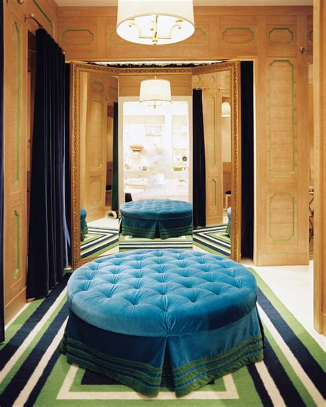 round dressing room ottoman blue tufted ottoman eclectic closet lonny magazine