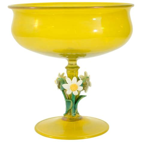 Yellow Vases And Bowls A Venetian Glass Footed Bowl Vase Yellow And Venetian Glass