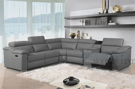 furniture modern leather reclining sectional grey and