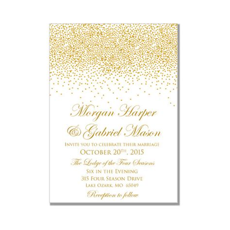 Printable Wedding Invitation Gold Wedding Gold Sparkles Diy Wedding Invitations Instant White And Gold Invitation Templates