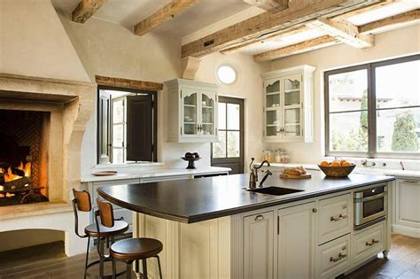 kitchen fireplace design ideas kitchen with rustic fireplace transitional kitchen