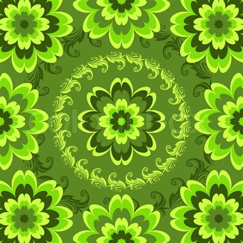 flower pattern green repeating green floral pattern with vivid flowers vector