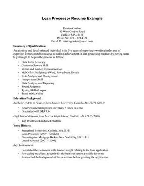 Entry Level Loan Processor Resume Sle Mortgage Loan Processor Resume Exle Source
