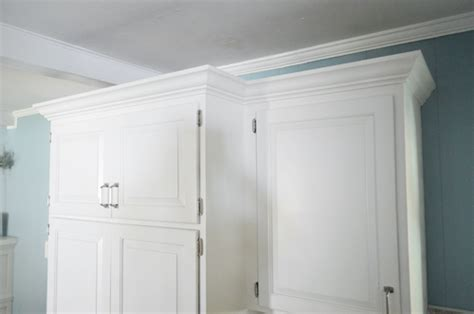 How To Cut Crown Moulding For Kitchen Cabinets How To Add Crown Molding To The Top Of Your Cabinets House