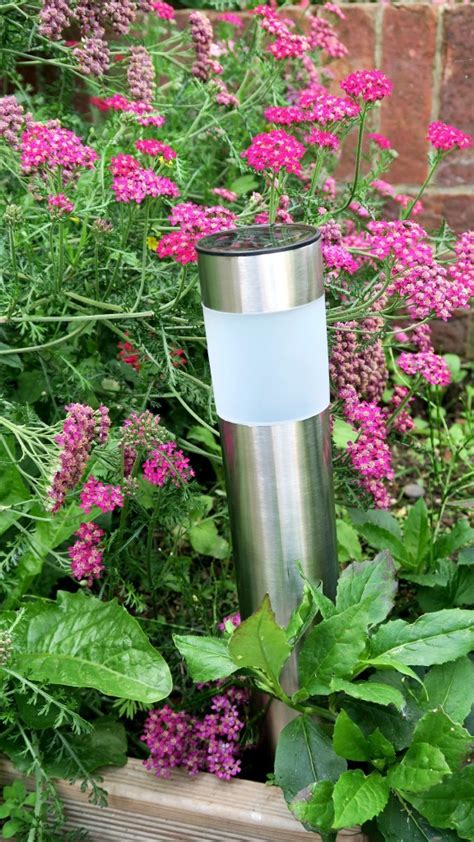 flower bed lights solar powered colour changing stainless steel lights