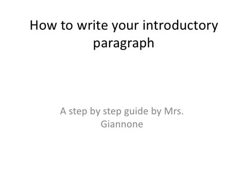 How Do I Write An Introduction For An Essay by How To Write Your Introductory Paragraph
